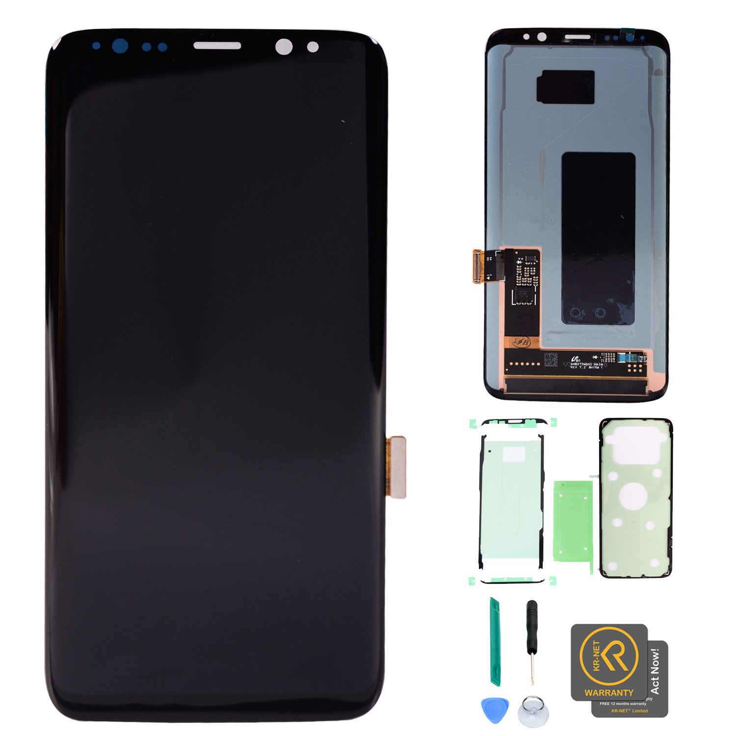 KR-NET AMOLED LCD Display Touch Screen Digitizer Assembly Replacement + Full Set PreCut Adhesive for Samsung Galaxy S8 G950F G950A G950P G950V G950T G950R4