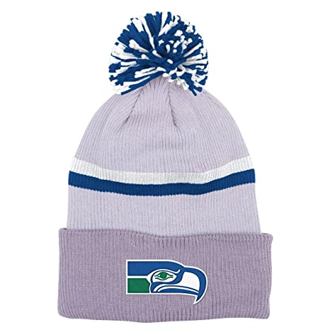 buy popular 64fbd d2547 Image Unavailable. Image not available for. Color  Seattle Seahawks  Mitchell   Ness NFL  quot Slate quot  Cuffed Knit Hat w  Pom