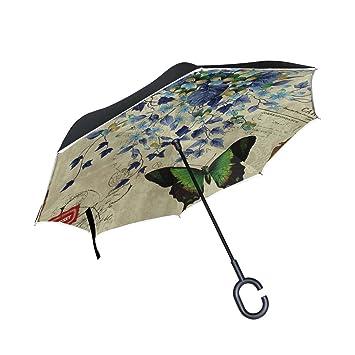 FOLPPLY Paraguas invertido Vintage Retro Butterfly, Doble Capa Reverso Paraguas Impermeable para Coche Lluvia al