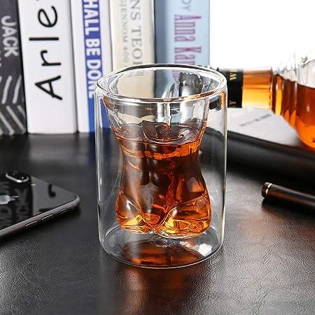 Heaviesk /Único de Doble Capa de Vidrio Muscular 150 ml Copa de Doble Pared Hombre Copa de Vidrio Cuerpo Masculino Desnudo Cerveza Whisky Taza de Bebida para Fiesta