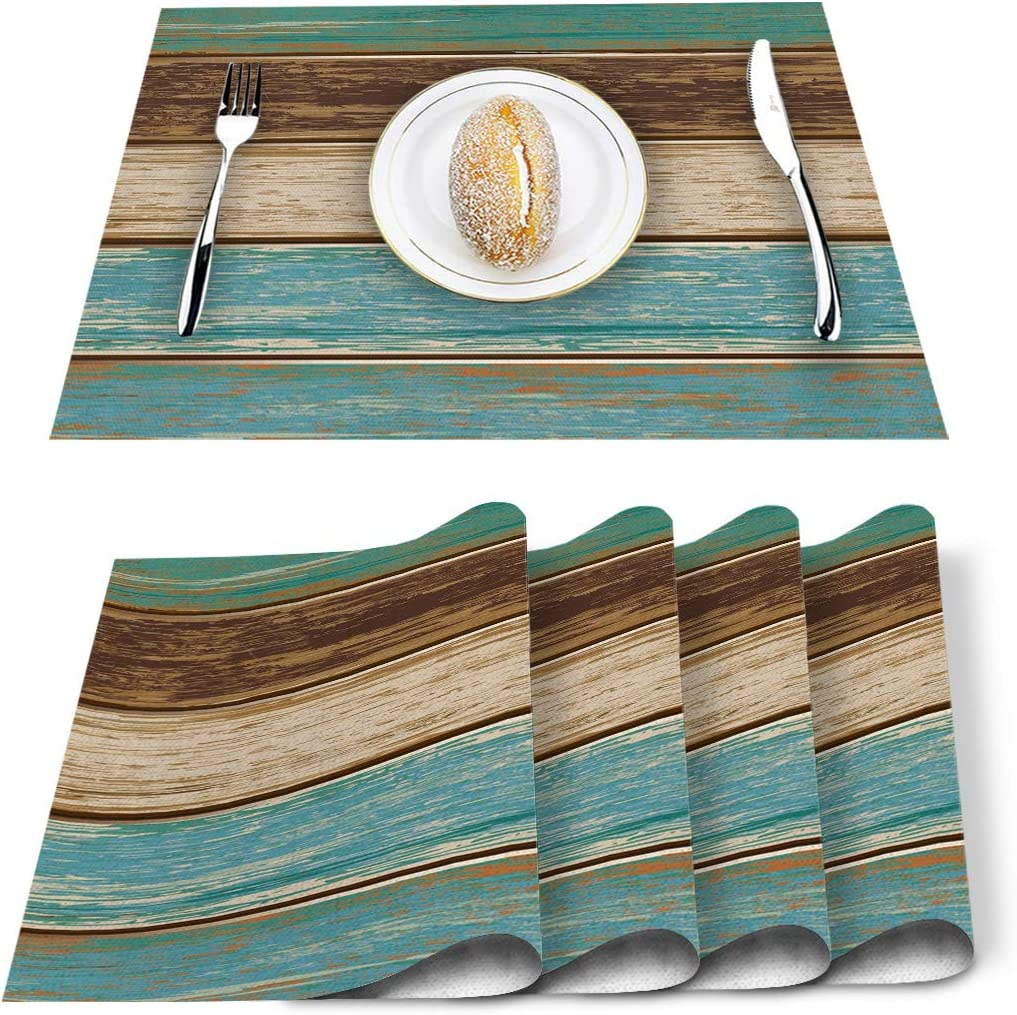 ARTSHOWING Rustic Wood Theme Placemats Heat-Resistant Table Mats Washable Linen Placemats 12 x 18 Inch, Set of 4 - Wooden Plank