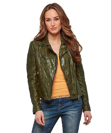 13ae5f956 Joe Browns Womens Zip Up Shoulder Panel Leather Jacket: Amazon.co.uk ...