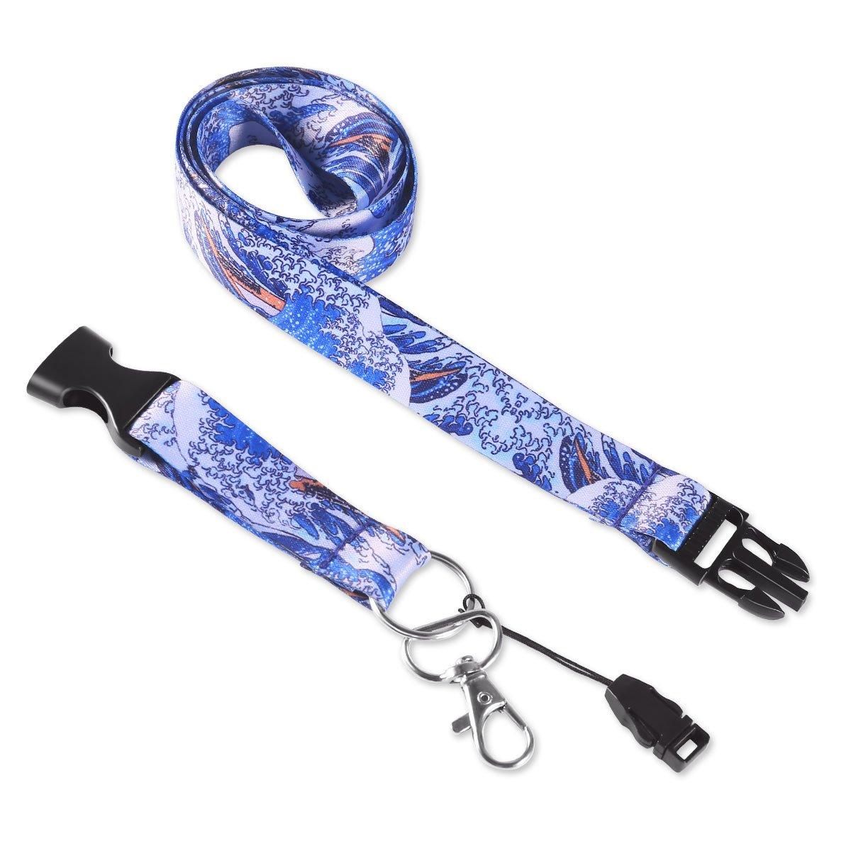 Premium laccetto con apertura per chiavi Dealikee cordini bright Waves cordino con fibbia e anello di metallo porta badge.