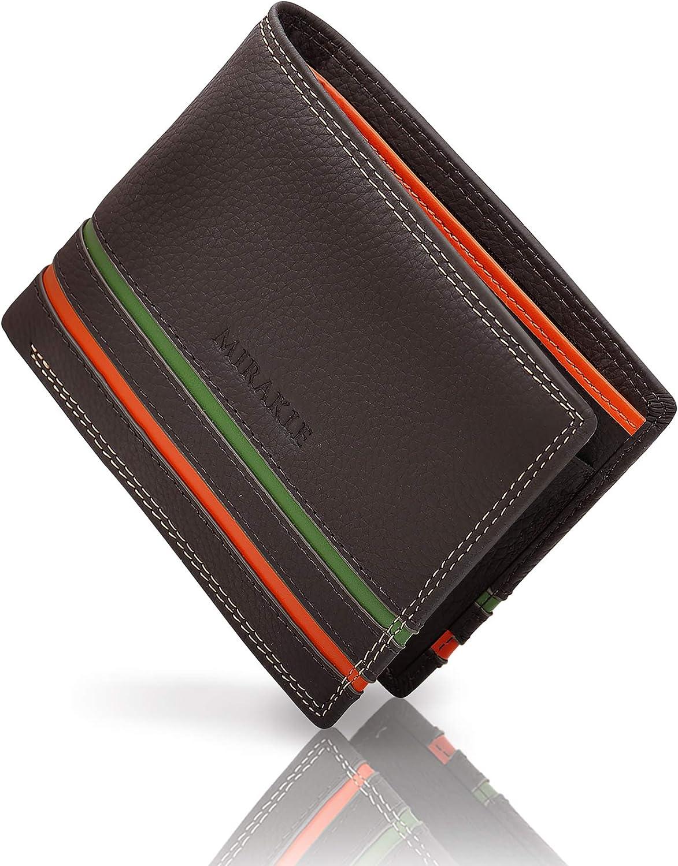 Mirakle Carteras Hombre, Cartera RFID Piel Hombre para 9 Tarjetas, 2 Compartimentos para Billeteras, 1 Bolsillo para Monedas, Cartera Delgada con Rayas Naranja y Verde de Moda, Marrón Oscuro: Amazon.es: Equipaje