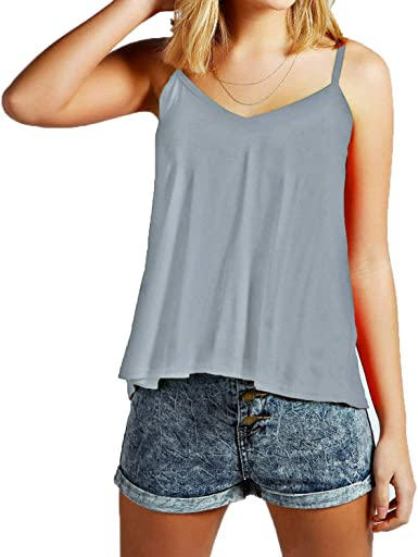 New Womens Ladies Sleeveless Swing Cami Vest Top Strappy Plain Flared Plus Size