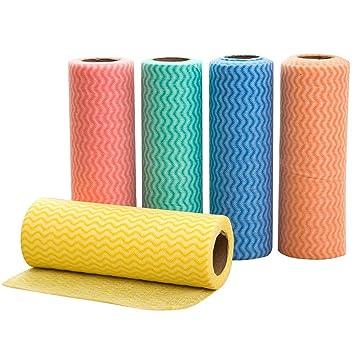 BESTONZON 5pcs toallas de limpieza desechables Toallas de Plato Paño De Limpieza Multiusos reutilizables Toallitas para la limpieza rollos (Color ...