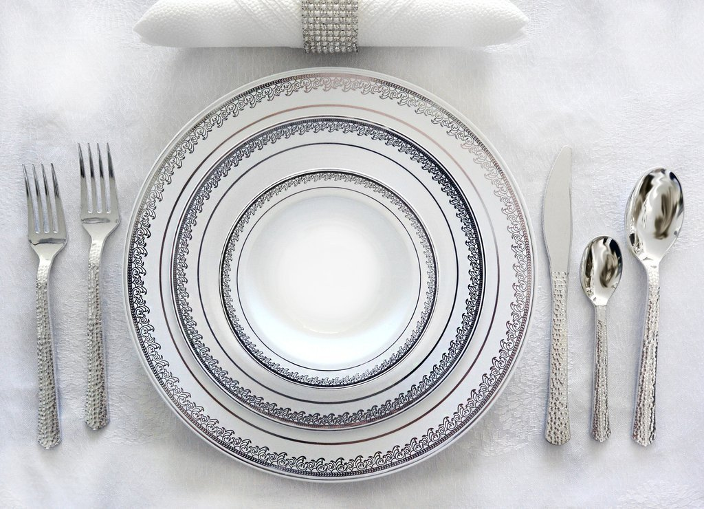 Royalty Settings Elegant Collection Hard Plastic Plates for Weddings for 120 Persons, Includes 120 Dinner Plates, 120 Salad Plates, 240 Forks, 120 Spoons, 120 Knives, White by Royalty Settings