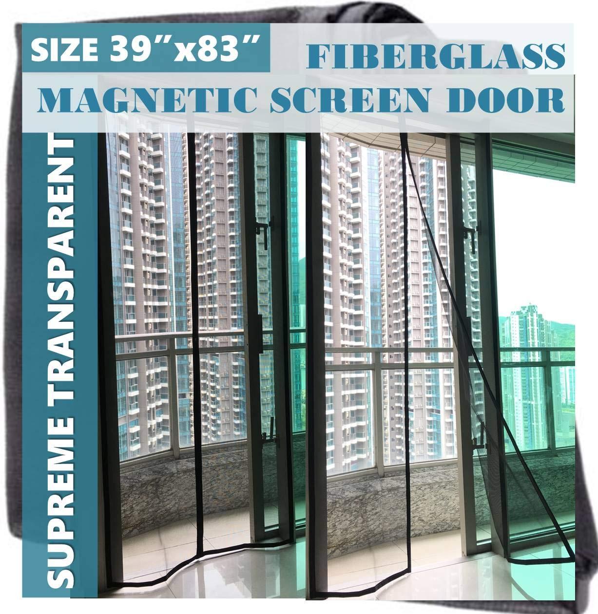 F.S. Luxurious Magnetic Screen Door Fiberglass Upgraded Mosquito Bug Off Screen Curtain Full Frame Hook and Loop Tape Mesh Insect Net Size 39x83 for Patio Door French Door Sliding Glass Door 38 x 82