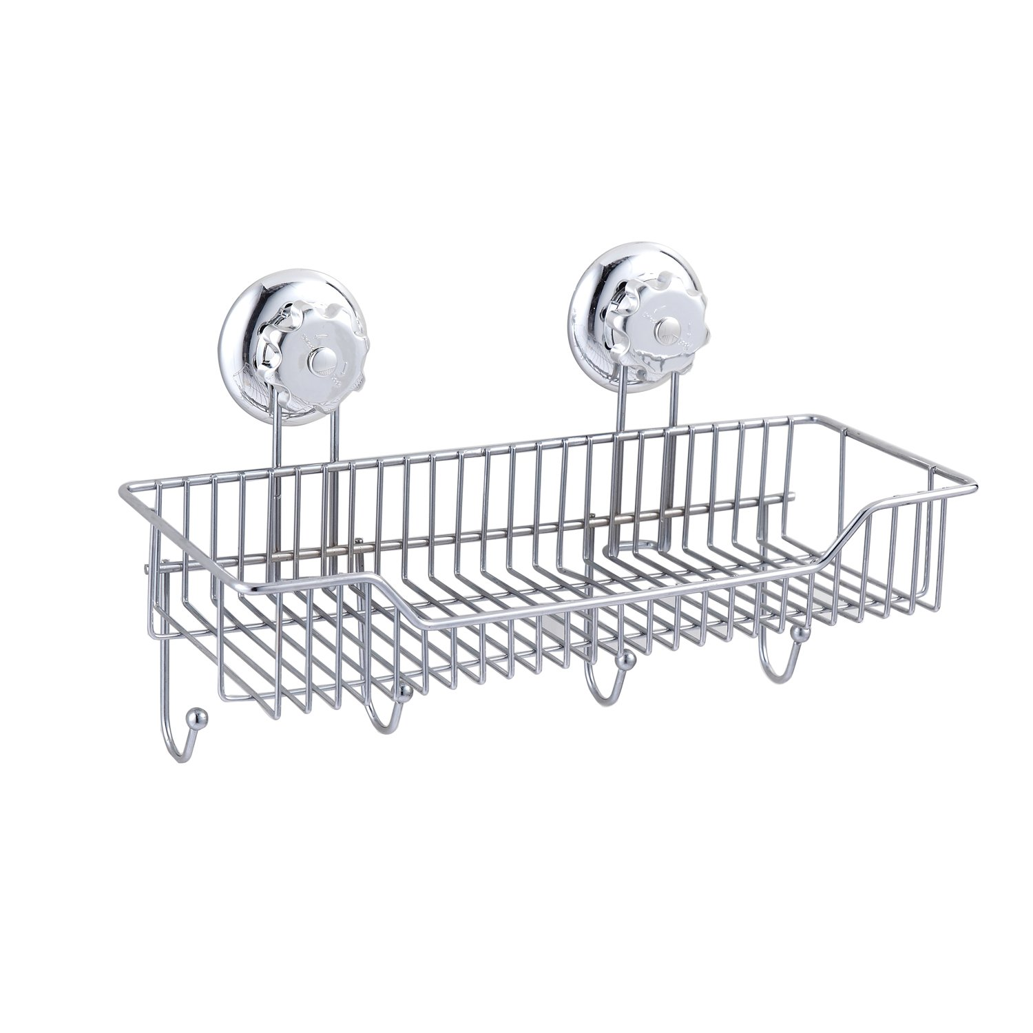 Shower Caddy Combo Basket Hooks Suction Cup Stainless Steel Bathroom  Organizer