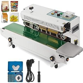 HUKOER Máquina de sellado continuo de bolsas plástica FR-900 Máquina automática de envasado de película plástica
