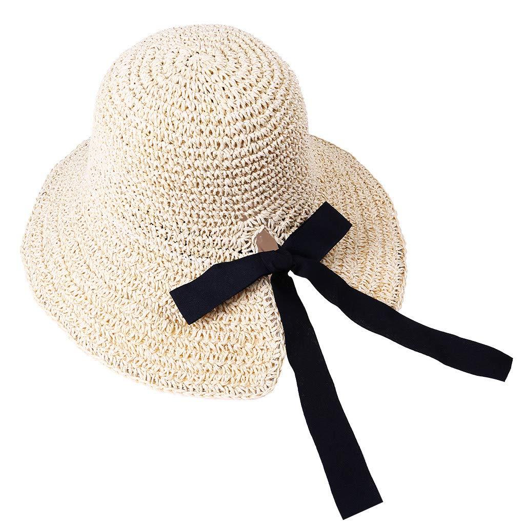 2019 New !Women's Soft Bow Handmade Foldable Rear Split Strap Hat Fisherman Farmer Spring Summer Outdoor Straw Hat (Beige)