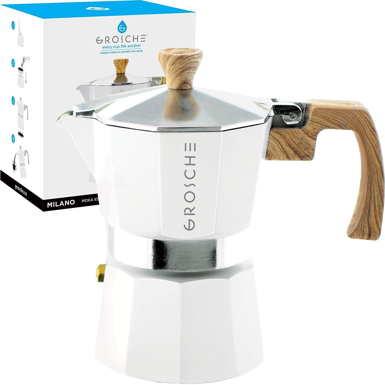 GROSCHE Milano Stovetop Espresso Maker Moka pot 3 Cup - 5 oz, White - Cuban Coffee Maker Stove top coffee maker Moka Italian espresso greca coffee maker brewer percolator
