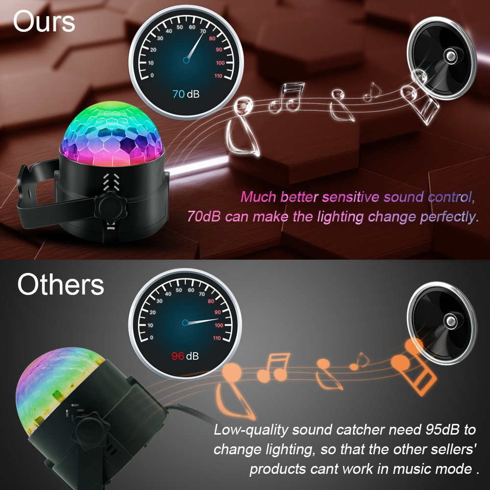 Party Supplies Disco Ball DJ Lights - Sound Activated LED lights with Remote Control RGB Strobe Lamp Stage Light for Home Dance Birthday Bar Karaoke Wedding Show by BOOMRO (Image #5)
