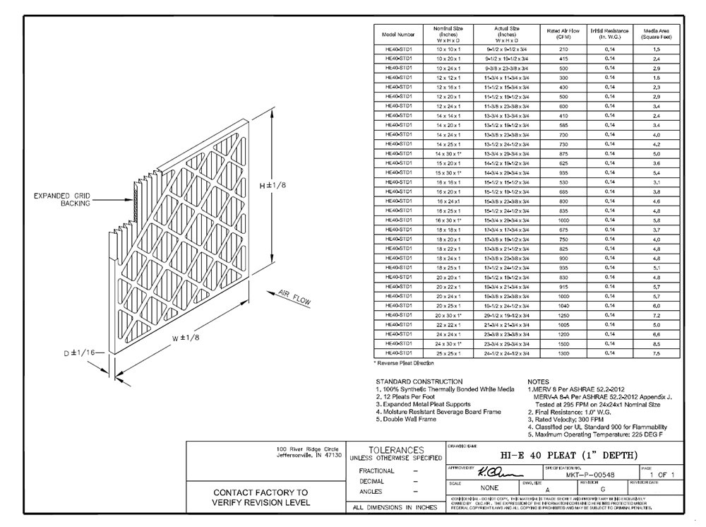 Pack of 12 Sterling Seal FI-6501-SP1 Purolator Hi-E 40 Extended Surface Pleated Air Filter 16 Width x 25 Height x 1 Depth Mechanical MERV 8