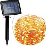 AMIR Solar Powered String Lights 150 LED, 2 Modes Steady on/Flash Copper Wire Lights, Indoor/Outdoor Starry String Lights, Waterproof Solar Decoration Lights for Gardens, Homes, Parties (Warm White)
