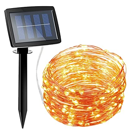 Amazon amir solar powered string lights 150 led 2 modes amir solar powered string lights 150 led 2 modes steady onflash copper wire aloadofball Choice Image