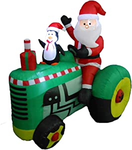 BZB Goods 5.3 Foot Tall Christmas Inflatable Santa Claus Drive Tractor with Penguin Yard Decoration