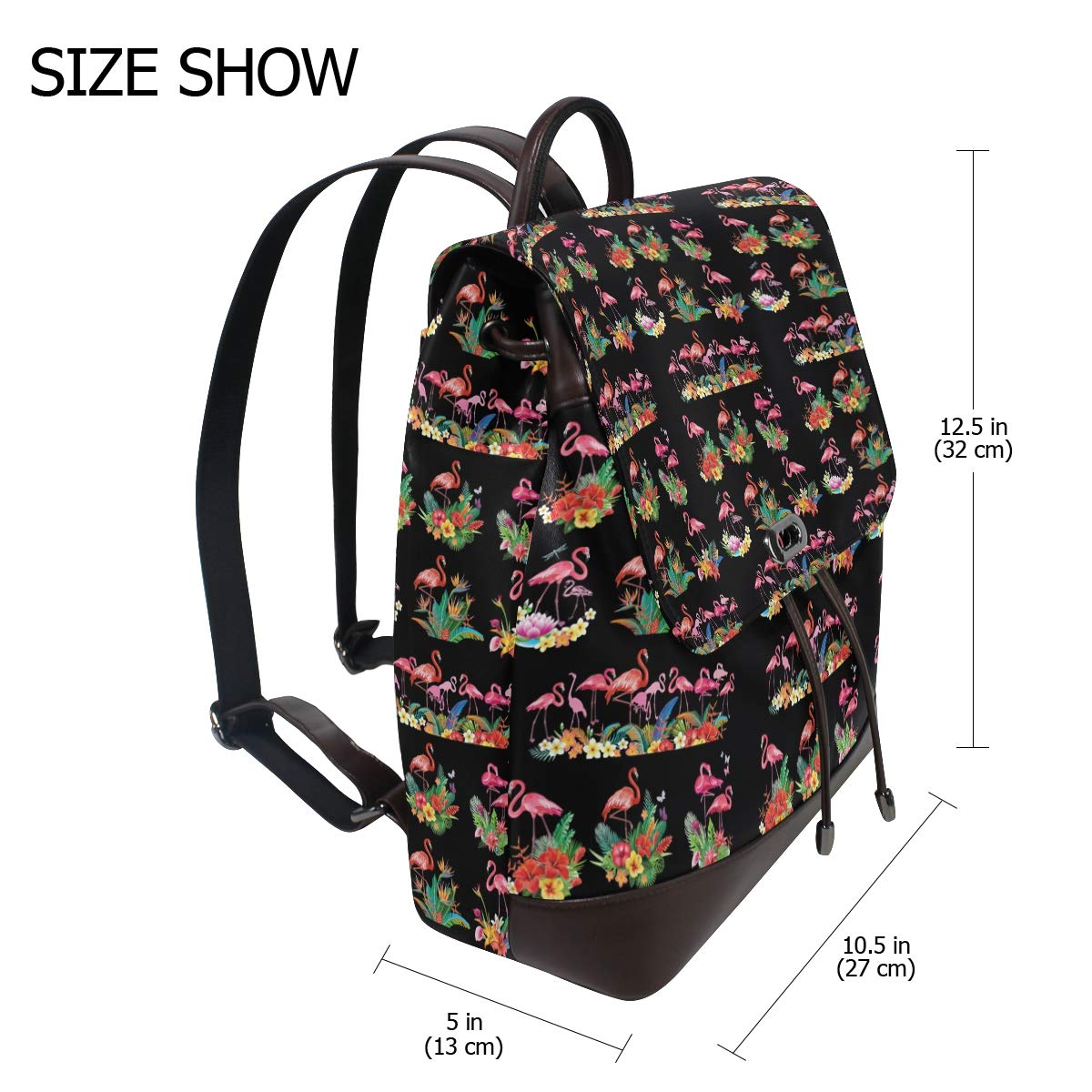 Leather Tropical Flowers And Flamingoes Backpack Daypack Bag Women