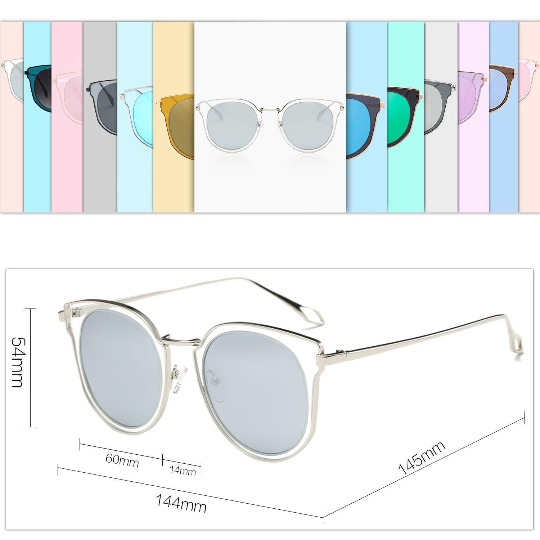 40bea4dda4 SOJOS Fashion Polarized Sunglasses for Women UV400 Mirrored Lens SJ1057  with Silver Frame Crystal Silver Mirrored Lens - SJ1057C3   Sunglasses    Clothing