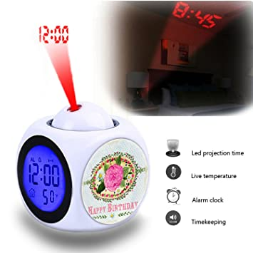 Projection Alarm Clock Wake Up Bedroom With Data And Temperature Display Talking Function LED Wall