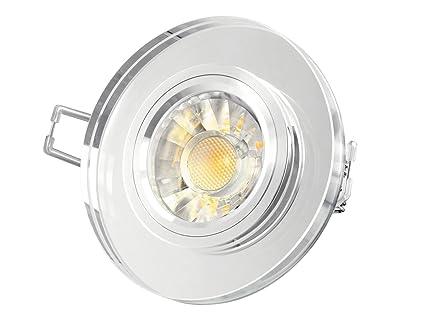 GLAS Einbau-Leuchte rund, LED Decken-Strahler klar spiegelnd, 5W SMD ...