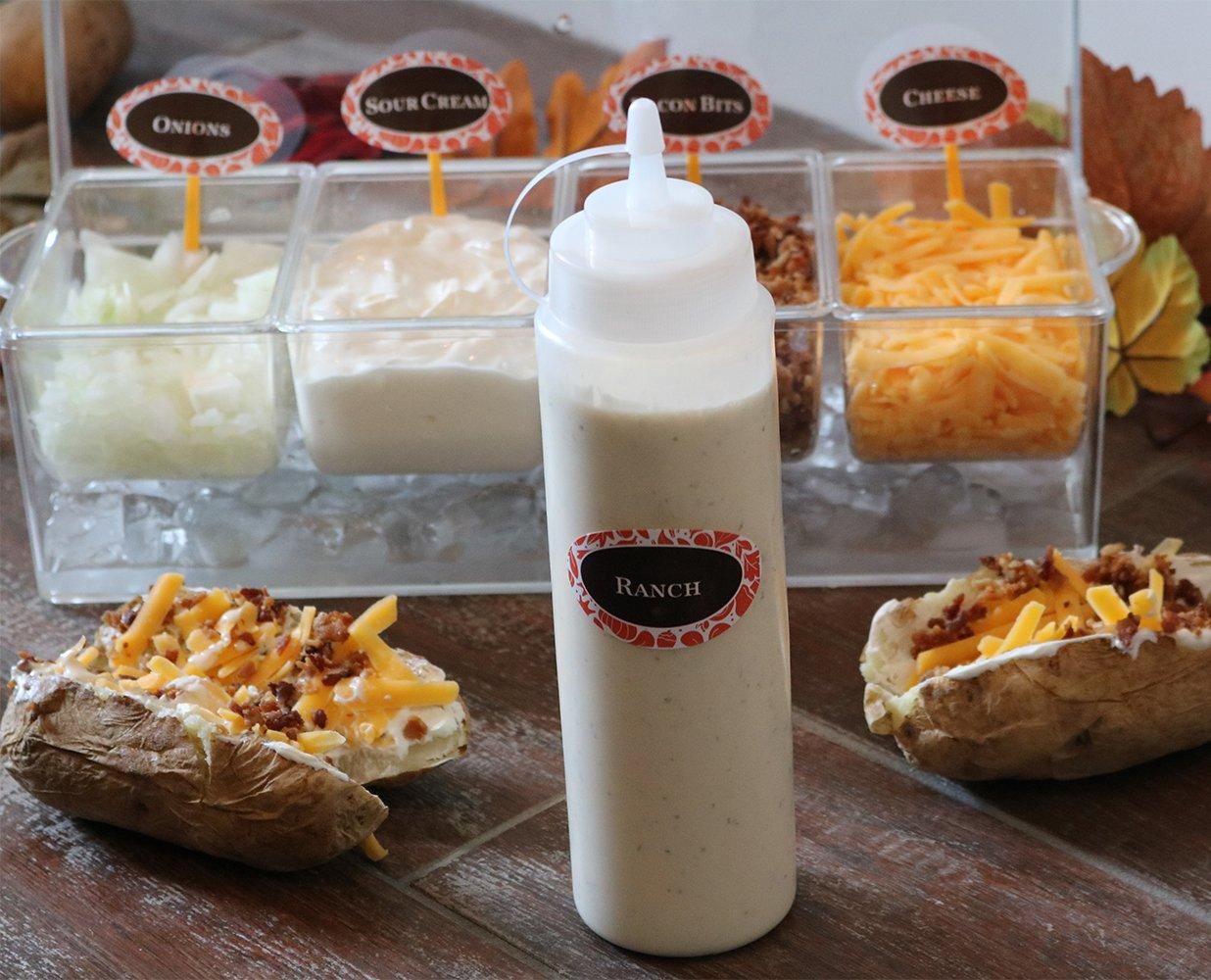 (Pack de 3) Botellas de Plastico Grandes 590 ml con Tapas de Rosca - Dispensadores Rellenables para Ketchup Mostaza Vinagre Salsas Aceite- Set de Botes ...