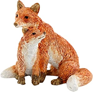 Top Collection Miniature Fairy Garden and Terrarium Mama Fox with Baby Statue, Red