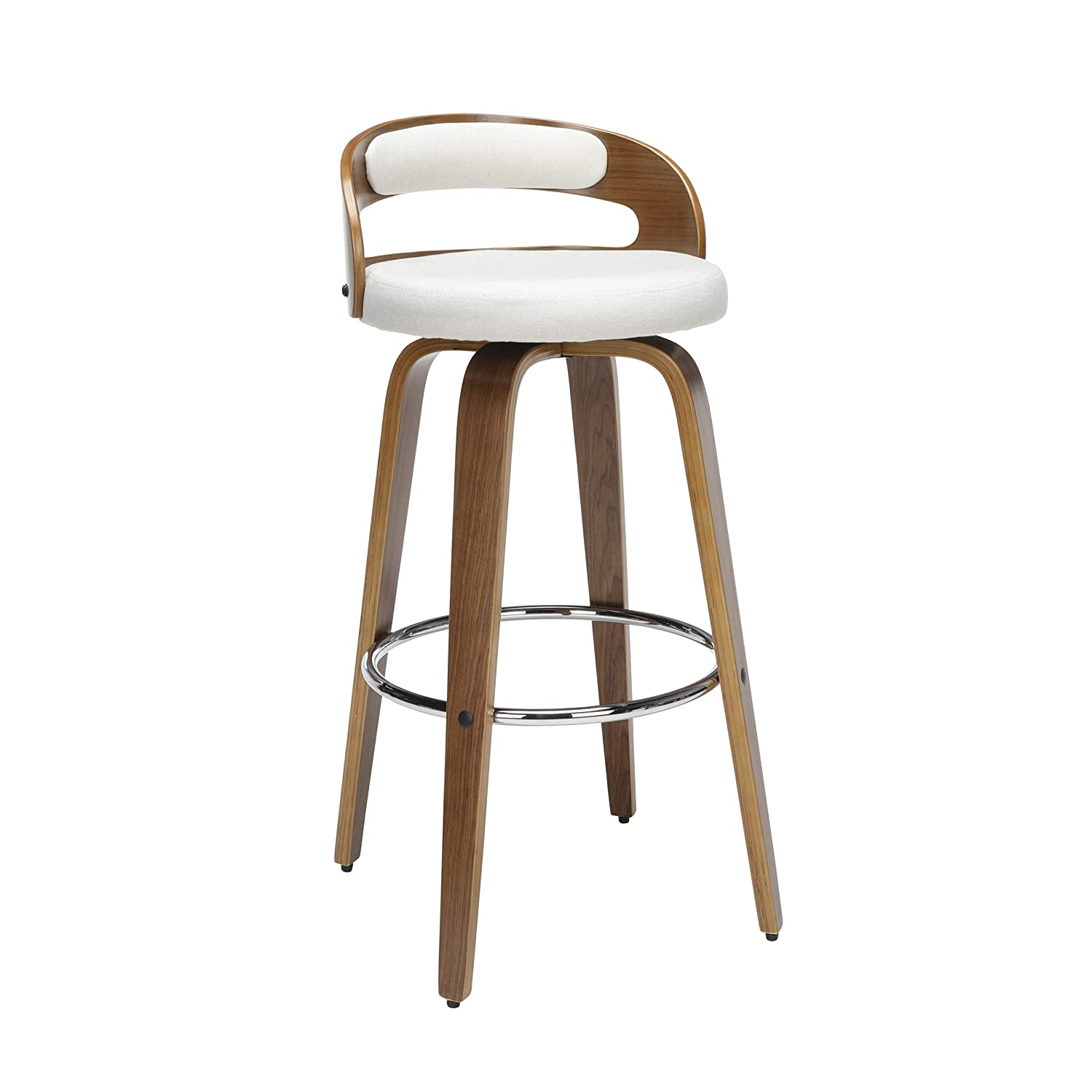 "OFM 161 Collection Mid Century Modern 30"" Low Back Bentwood Frame Swivel Seat Stool with Fabric Back and Seat Cushion, in Walnut/Beige"