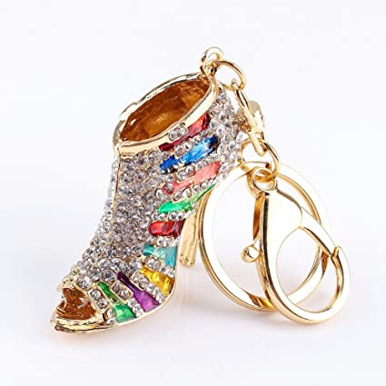 Lady Gift Rhinestone Stiletto Fashion Lady's High Heel Shoe Rhinestone Alloy Keychain Keyring Women Phone Bag Car Pendant Accessories (Multi Colored)