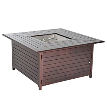 paramount fp 251 round outdoor propane fire pit table dining set slatted steel gas kit