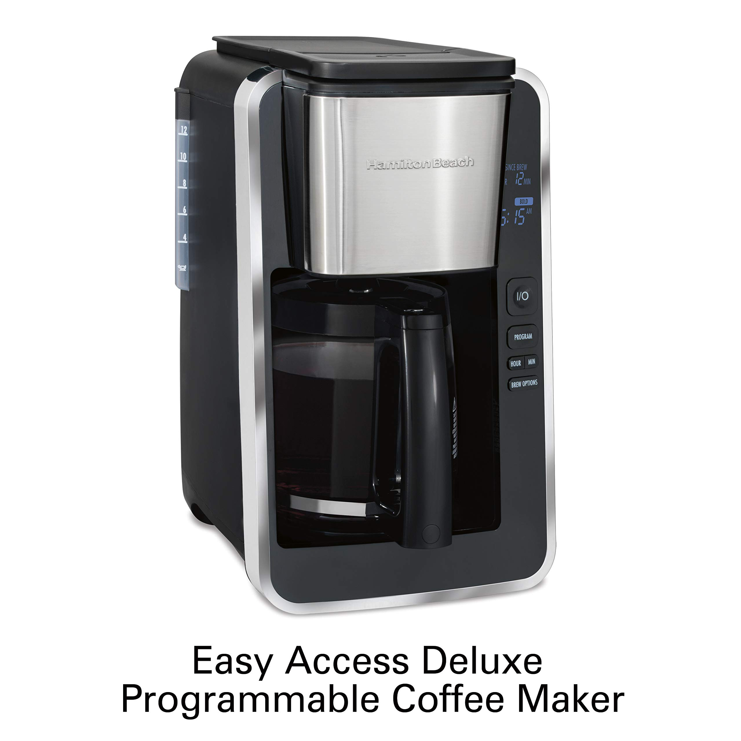 Hamilton Beach Programmable 12 Cup Coffee Maker, Easy Front Access Deluxe, Brew Options, Black and Stainless (46320), by Hamilton Beach (Image #2)