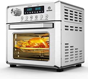 MOOSOO 19 Quart Air Fryer Oven for Large Family, 8-in-1 Combo Convection Roaster with LED Display, 1500W & Large Glass Window Air Fryer Toaster Oven, Double Tube Uniform Heating, Super Durable Stainless Steel Body