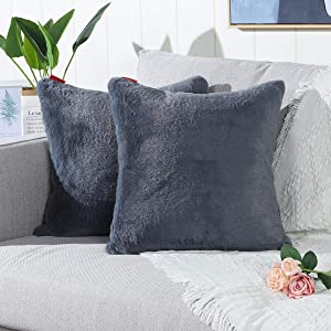 Mandioo Pack of 2 Grey Faux Fur Fuzzy Cozy Soft Decorative Throw Pillow Covers Set Cushion Cases Pillowcases for Sofa Bedroom Car 18x18 Inches