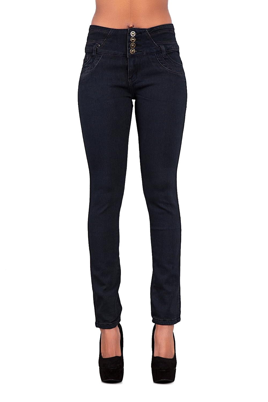 30%OFF Mujeres azul negro blanco Skinny – elástico de alta cintura  pantalones vaqueros Pantalones 352ec86ce81a