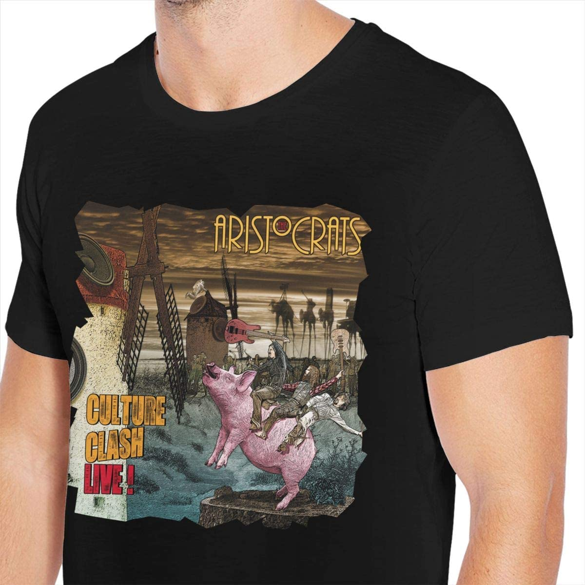 Nanadang Dinosaur Pop Mens Short Sleeve Round Neck Summer Fashion Oversize T-Shirt Cool Black