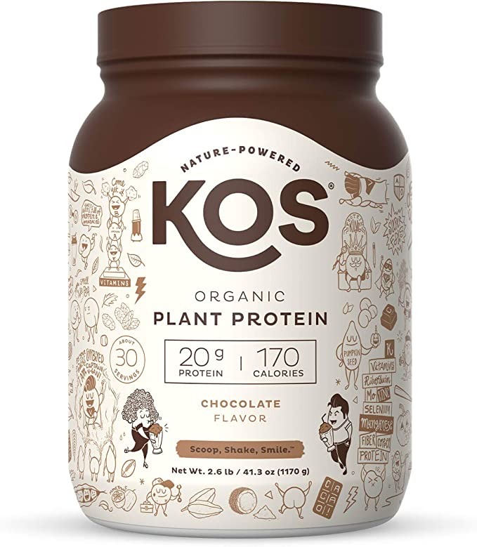 Amazon.com: KOS Organic Plant Based Protein Powder, Chocolate - Delicious Vegan Protein Powder - Gluten Free, Dairy Free & Soy Free - 2.6 Pounds, 30 Servings: Health & Personal Care