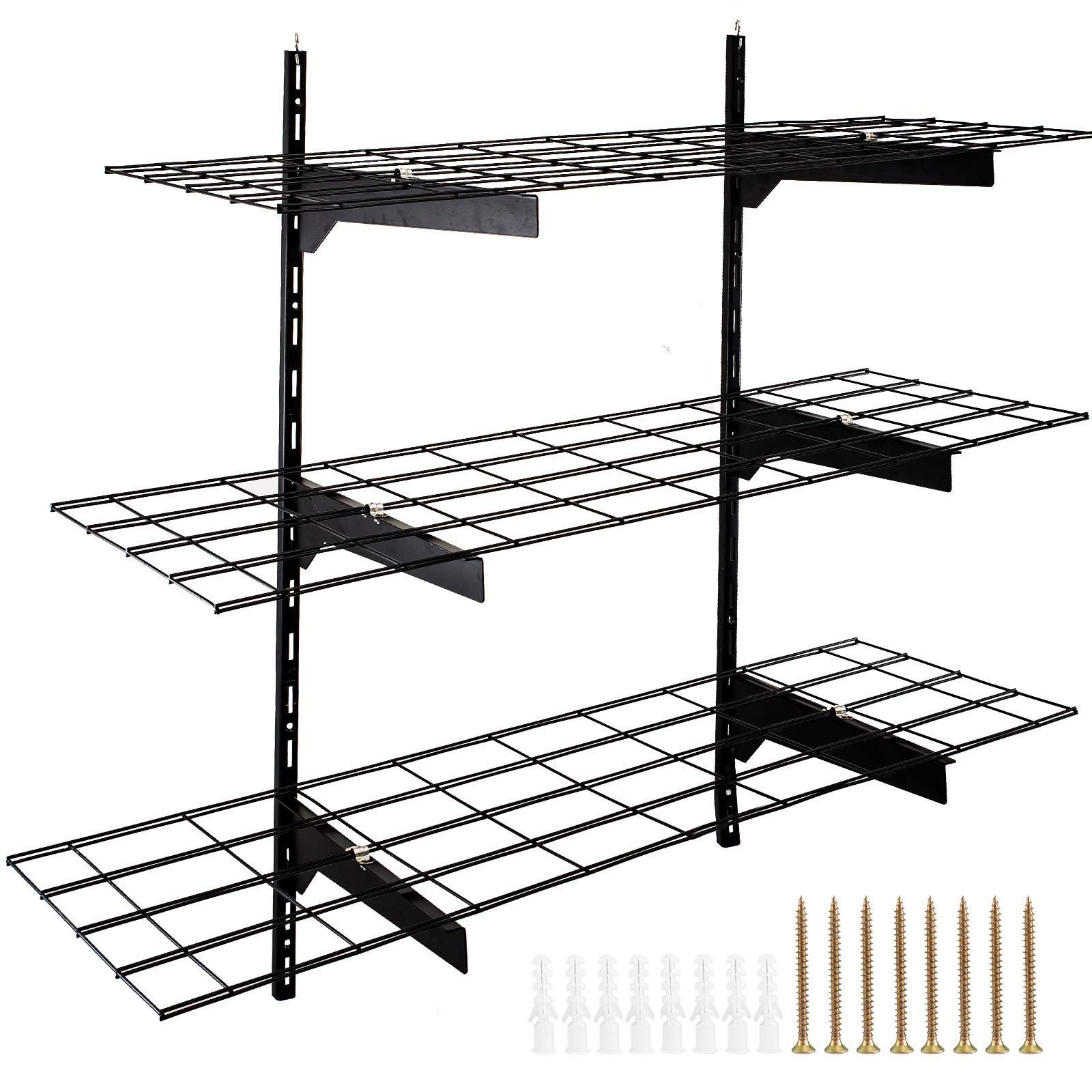 BestEquip 3 PCS 1x3Ft 12 Inch-by-36 Inch Garage Wall Storage Black Garage Shelves Portable Wall Mounted Shelves