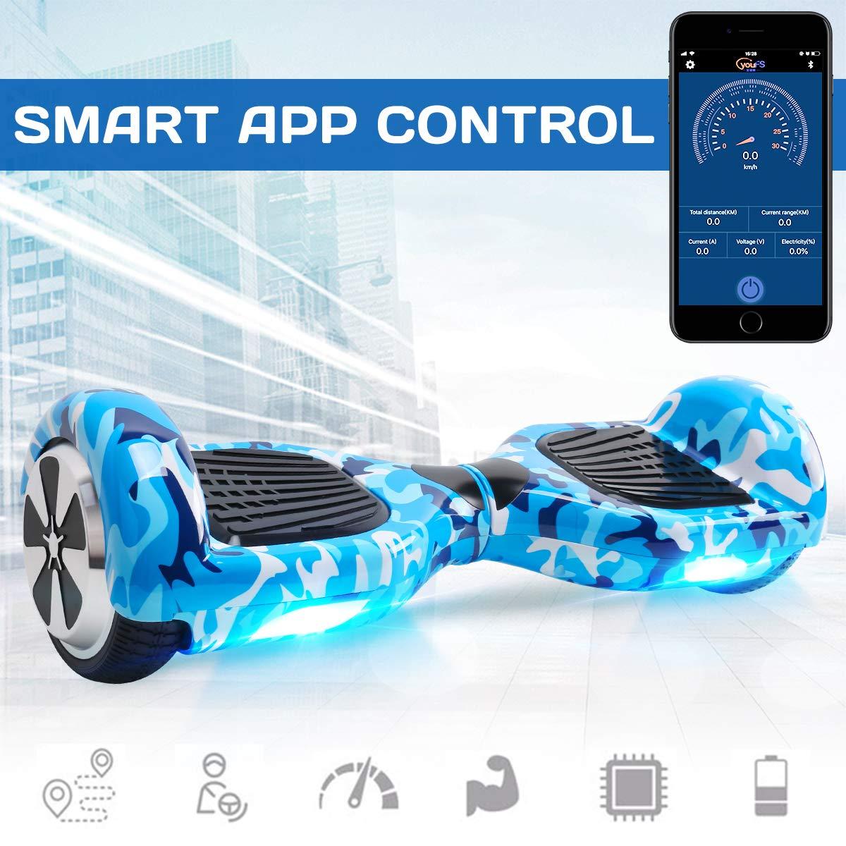 Windgoo Patinete El/éctrico con Bluetooth/&App 6.5 Pulgadas Hoverboard Overboard El/éctrico Scooter con Led Luces y 2 * 350 Motor Auto-Equilibrio Scooter para Ni/ños Aplicaci/ón-Army Blue