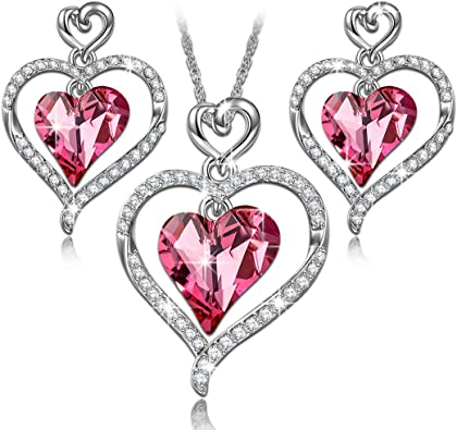 Rose Cristaux Collier Cœur Amour Argent Cadeau de Noël pour Elle Femmes