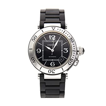 30861530888a Image Unavailable. Image not available for. Color  Cartier Pasha Mechanical  (Automatic) Black Dial Mens Watch ...