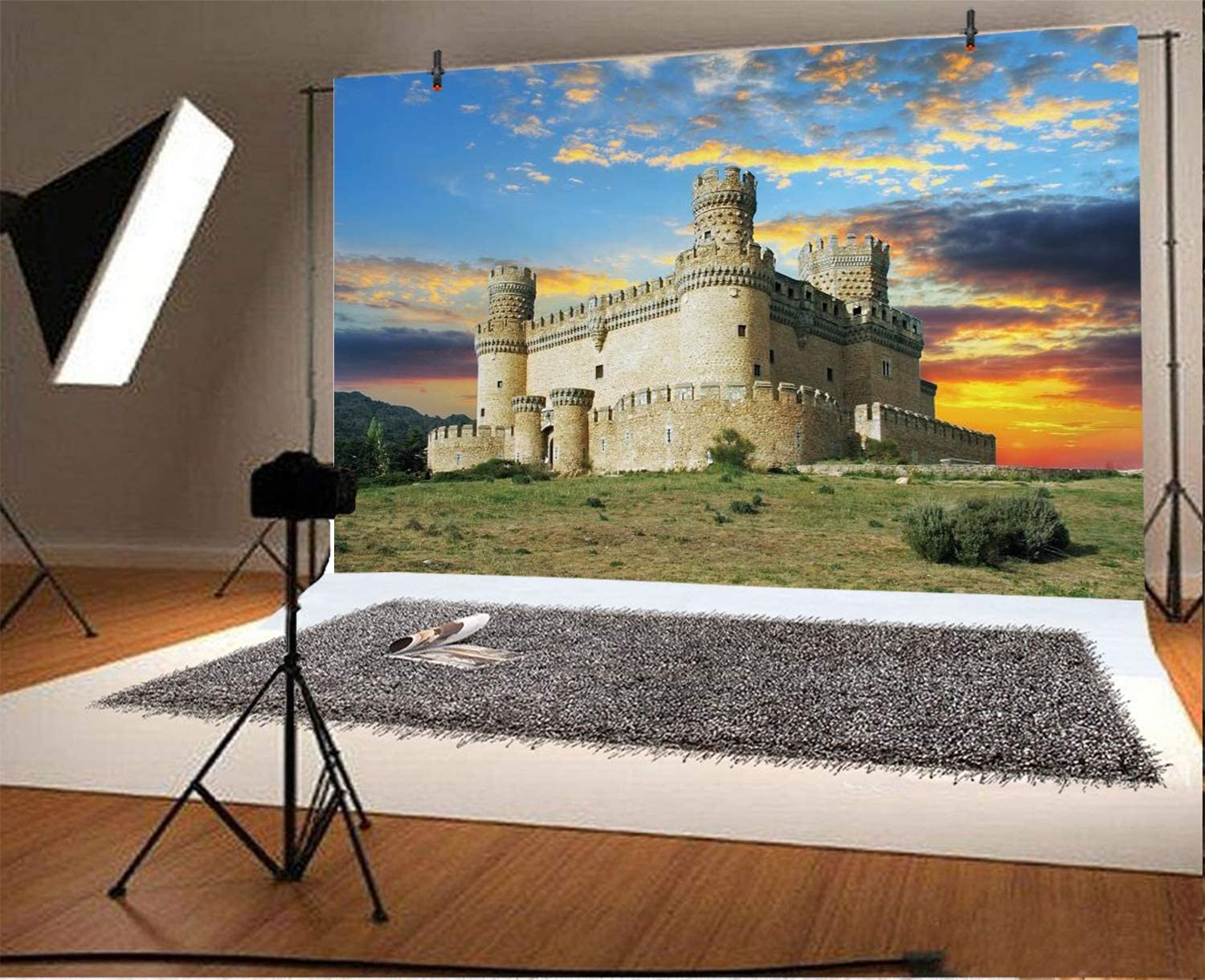 AOFOTO 6x4ft Polyester Sunset Old Castle Backdrop Spain Madrid Mediaeval Stone Fort Building Architecture Background Ancient Europa Historic Defense Wall Fortress Travel Photo Booth Props Washable