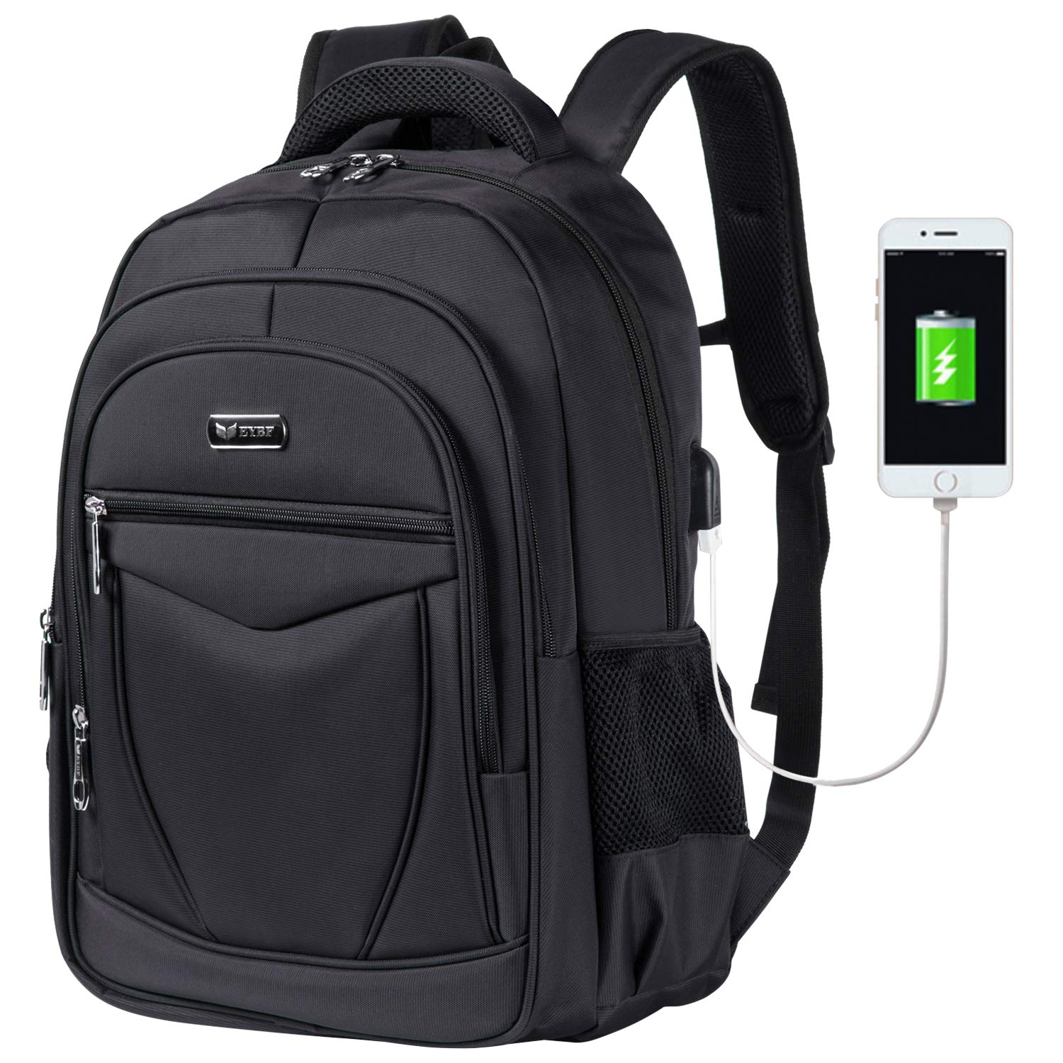 Laptop Backpack, Business Travel Laptop Backpack with USB Charging Port for Men Women Boys Students, Water-Repellent College School Bookbag Computer Backpack Fits 15.6 inch Laptop & Notebook - Black
