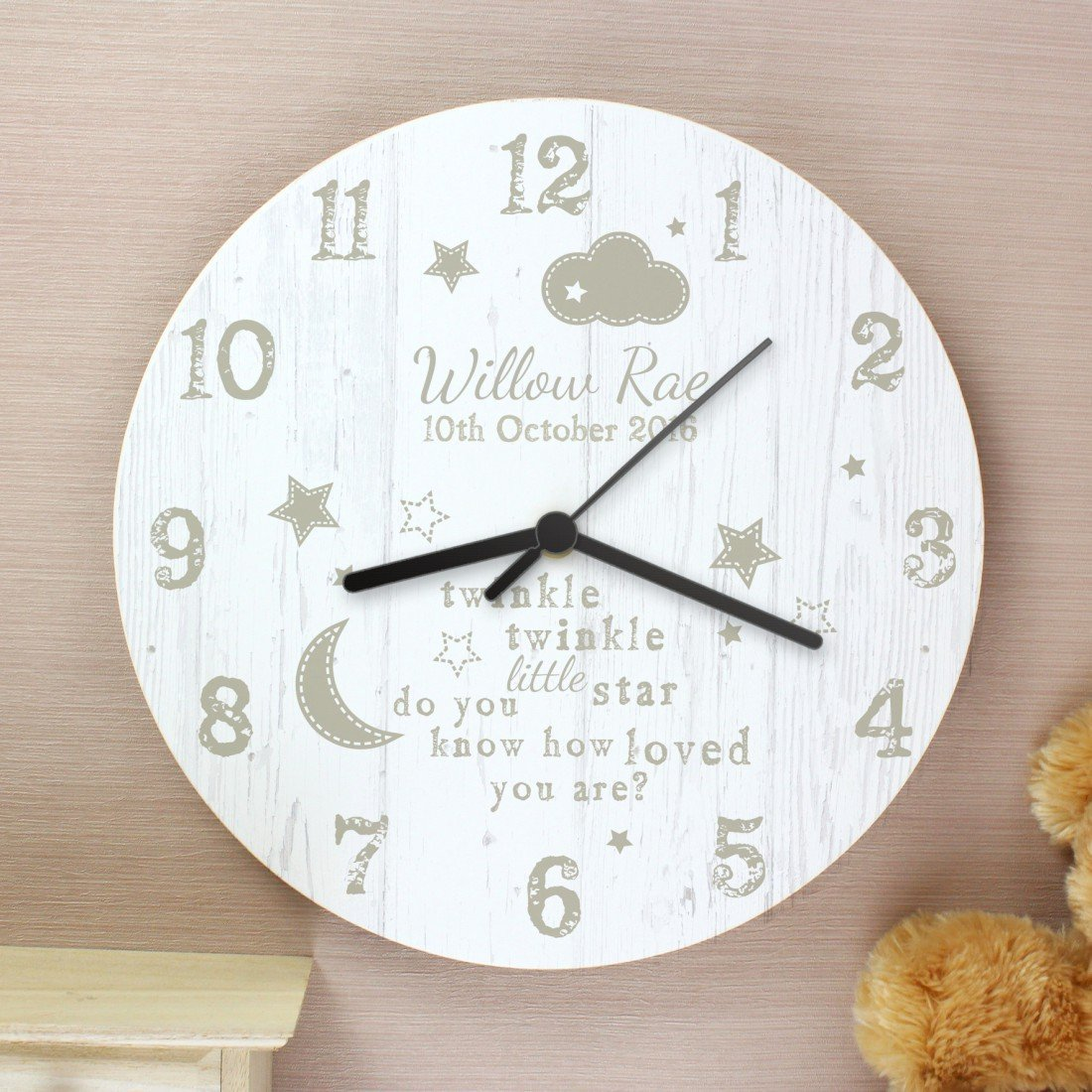 Personalised Twinkle Twinkle Wall Clock For Baby Babies Nursery Any Name Gift