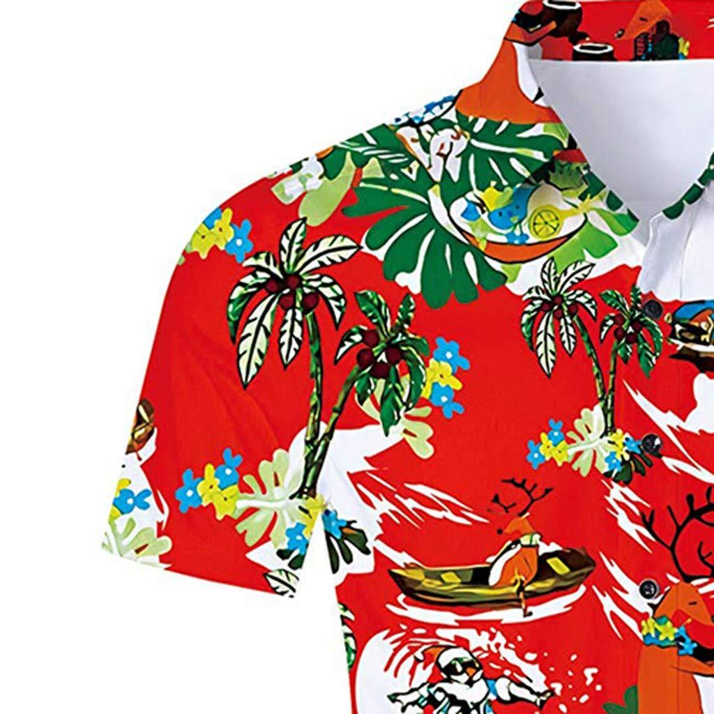 XZDCDJ Mens Summer Fashion Coconut Tree Hawaiian Style Short-Sleeved Shirts