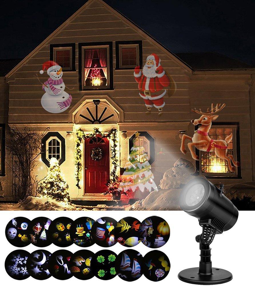 SMITHROAD LED Projektionslampe 14 Verschiedene Lichteffekt Strahler mit Timer für Halloween Weihnachten Karneval Innen Außen Garten Wand Beleuchtung IP65, 2. Generation [Energieklasse A+]