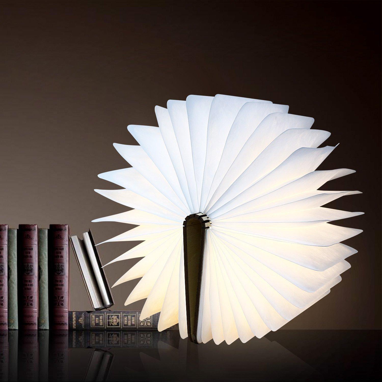 Albrillo lampe dambiance led 500 lumens en forme de livre pliante avec batterie lithium