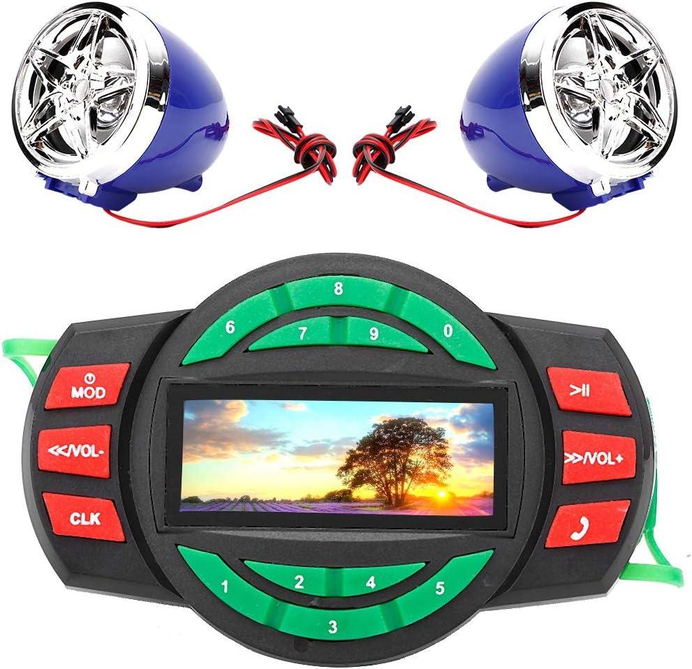 Impermeable LCD Motocicleta Reproductor de MP3 BT FM Radio Altavoz con carga de tel/éfono Gorgeri MP3 Cargador