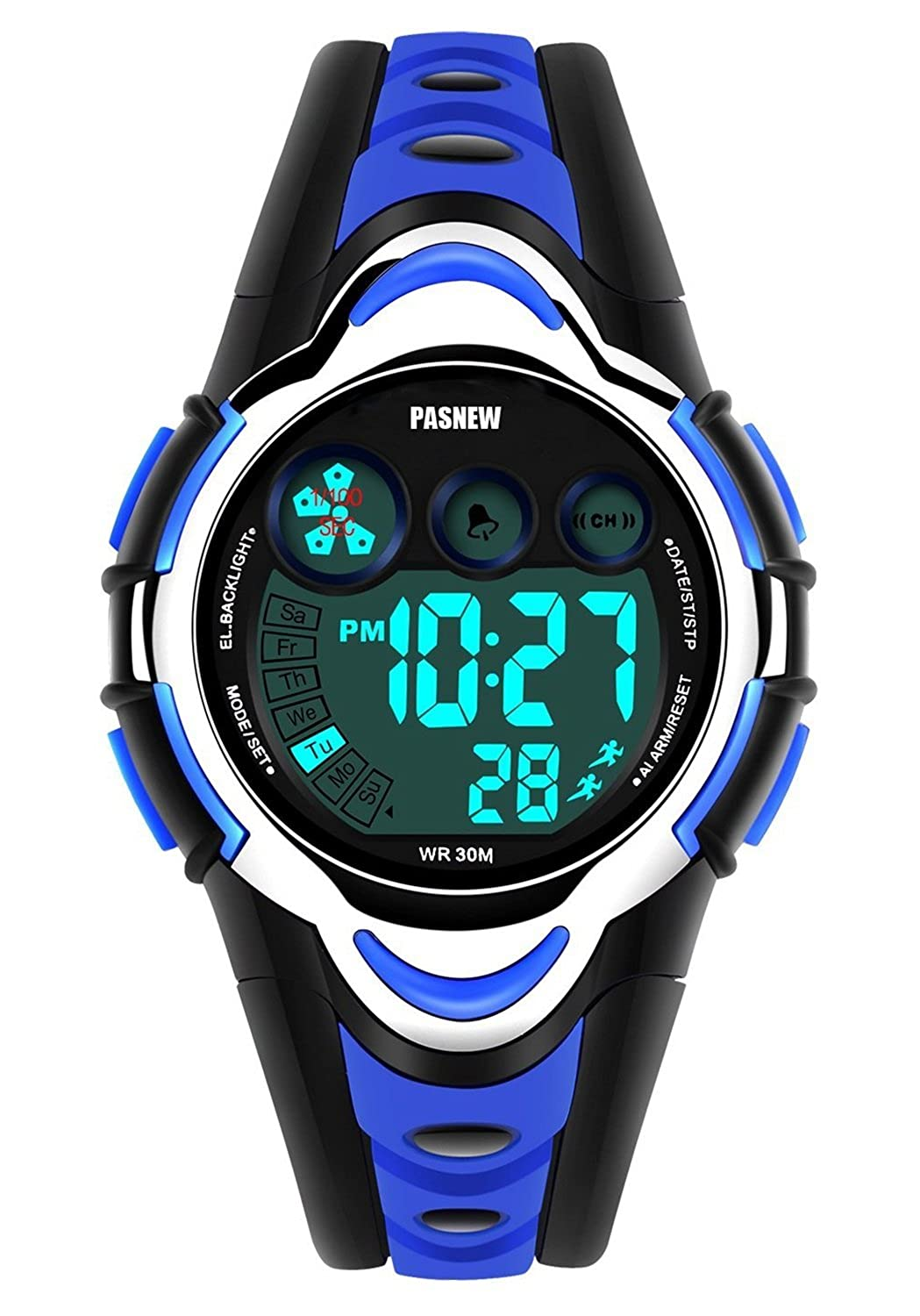 ed0c3851f Amazon.com  Waterproof Boys Girls Kids Childrens Digital Sports Watches for  5-12 Years Old (blue)  New Brand Mall  Clothing