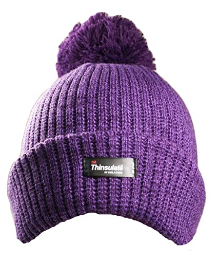 4b221858158d5 LADIES WOMENS Thinsulate Rockjock Winter THERMAL Hat with POMPOM ...