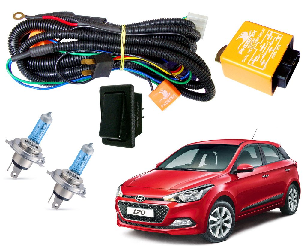 Autopearl Halogen Headlamp Wiring Harness Kit For Hyundai I20 Elite Honda Wire Set Of 3 Multicolour Car Motorbike